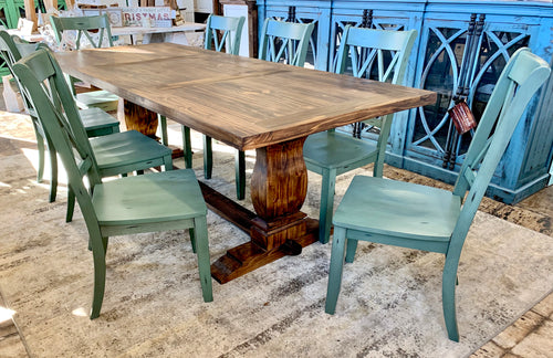 Aaron II Teal 9 piece dining table set
