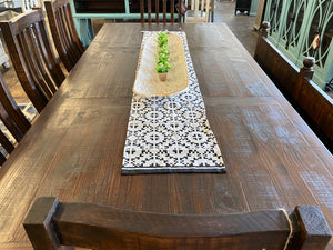 Faye Tobacco & Linen 8 foot Dining Table Set