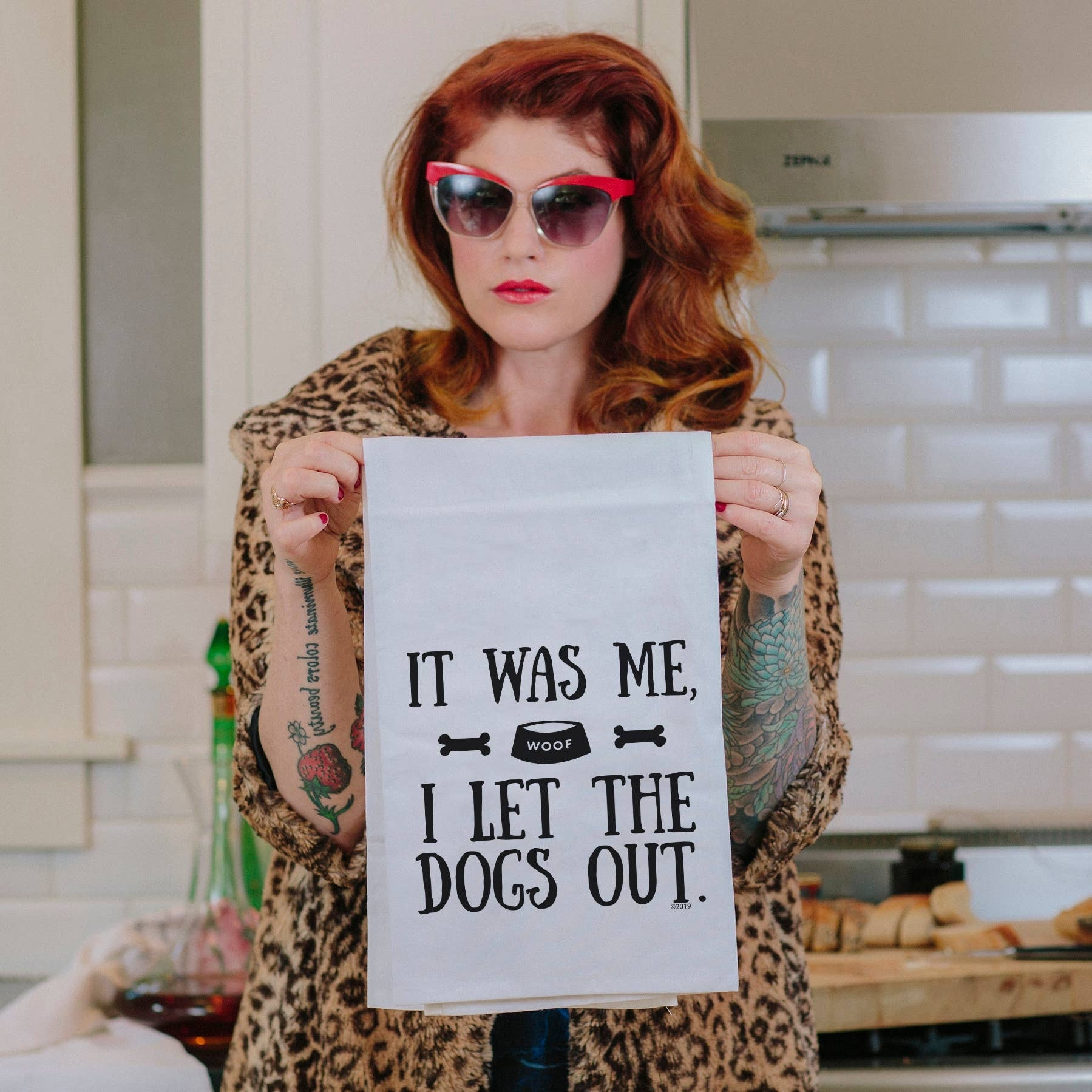 I Let The Dogs Out Tea Towel