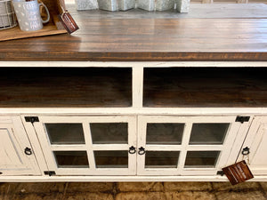 Emily Distressed White Large TV Stand