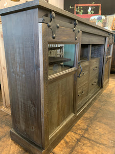 Griffin Dark Weathered Barn Door TV Stand