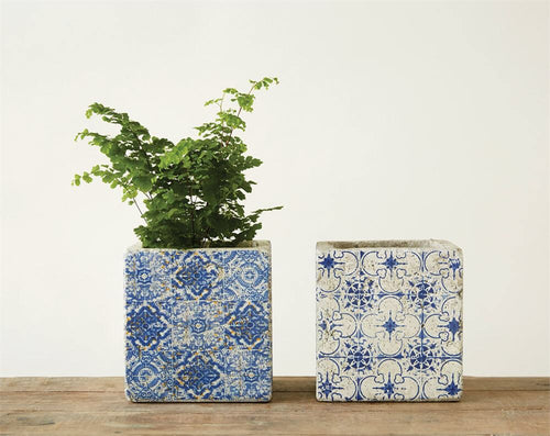 Blue and White Planter - large