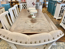 Load image into Gallery viewer, Herringbone Deconstructed Linen Dining Table Set