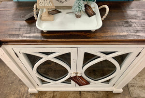 Cameo Distressed White Small Cabinet