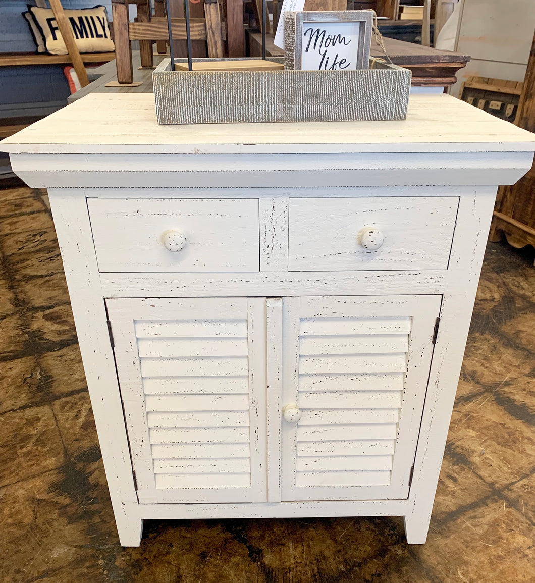 Kenzie Distressed White Accent Cabinet