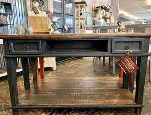 Emily Distressed Black Console Table