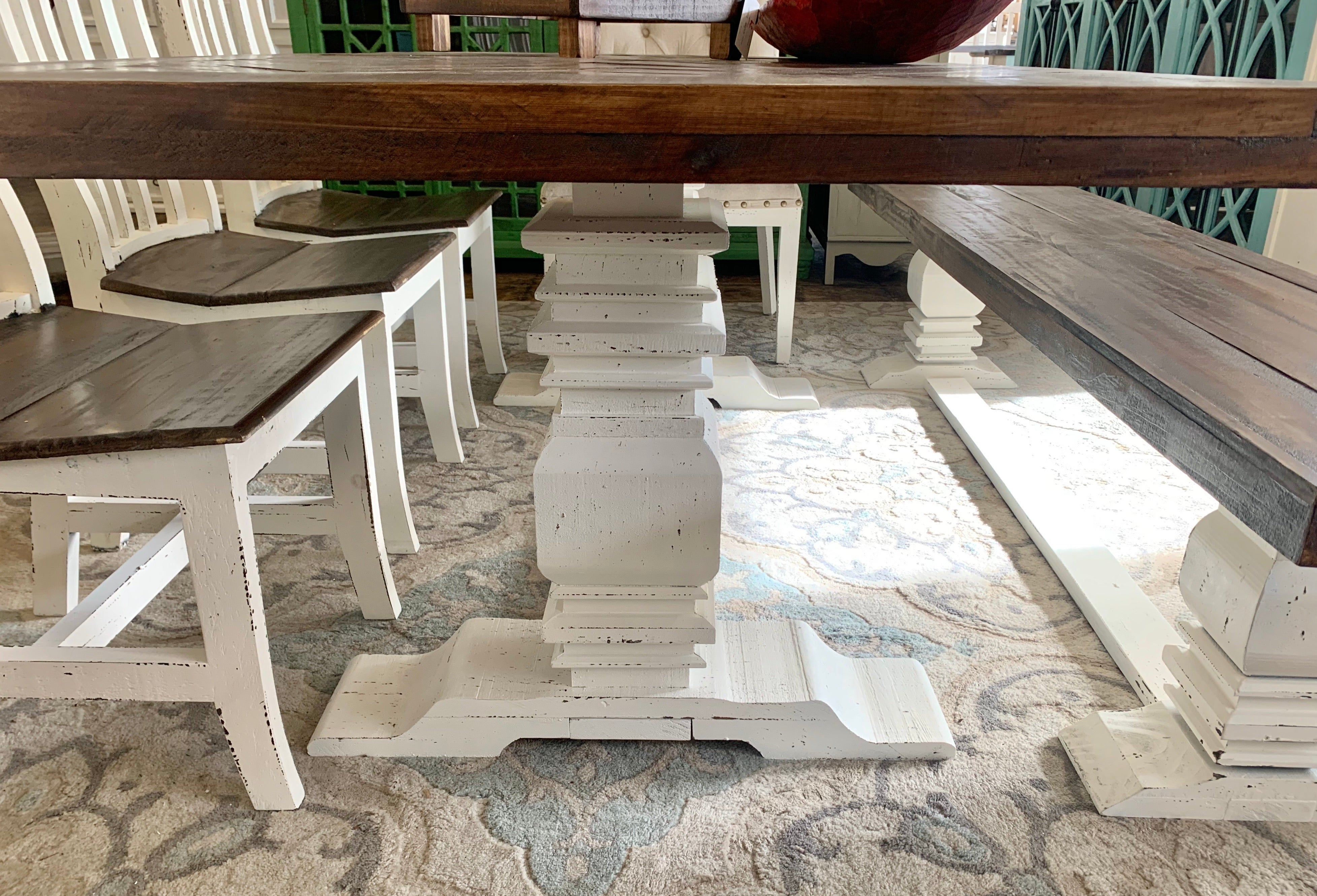 Herringbone Deconstructed White 7 piece Dining Table Set