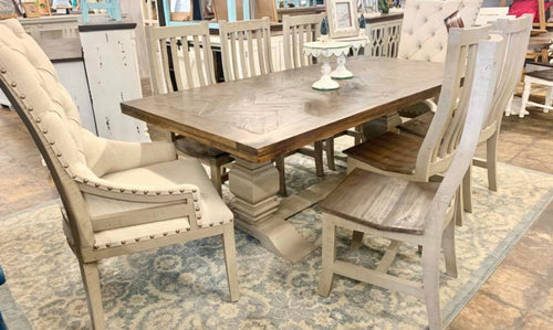 Herringbone Deconstructed 9 piece Dining Table Set