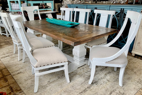 Herringbone White & Linen 9 piece Dining Table Set