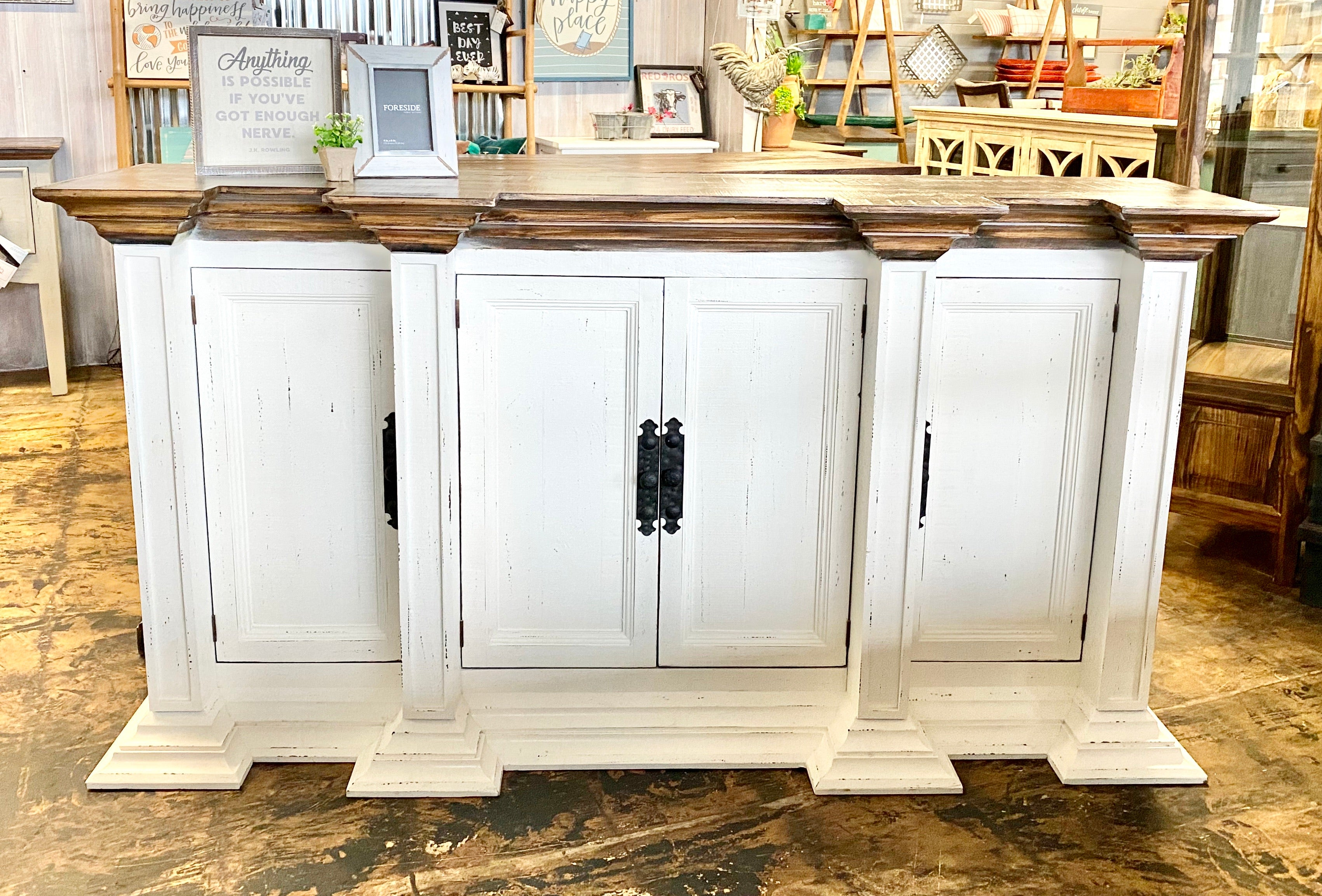 Kelsey Column Distressed White Buffet