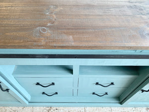 Griffin Beach Blue Barn Door TV Stand