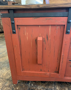Baumann Red Barn Door Cabinet