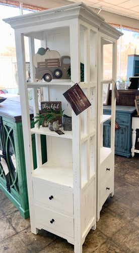 Blythe Distressed White Narrow Bookcase