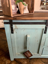 Load image into Gallery viewer, Baumann Turquoise Barn Door Cabinet