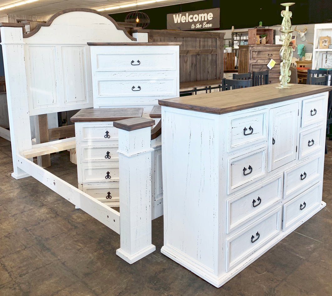 Chloe Distressed White & Tobacco King Bedroom Set