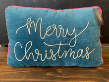 Load image into Gallery viewer, Merry Christmas Blue Pillow