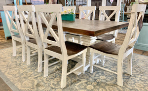Herringbone White X Back 9 piece Dining Table Set
