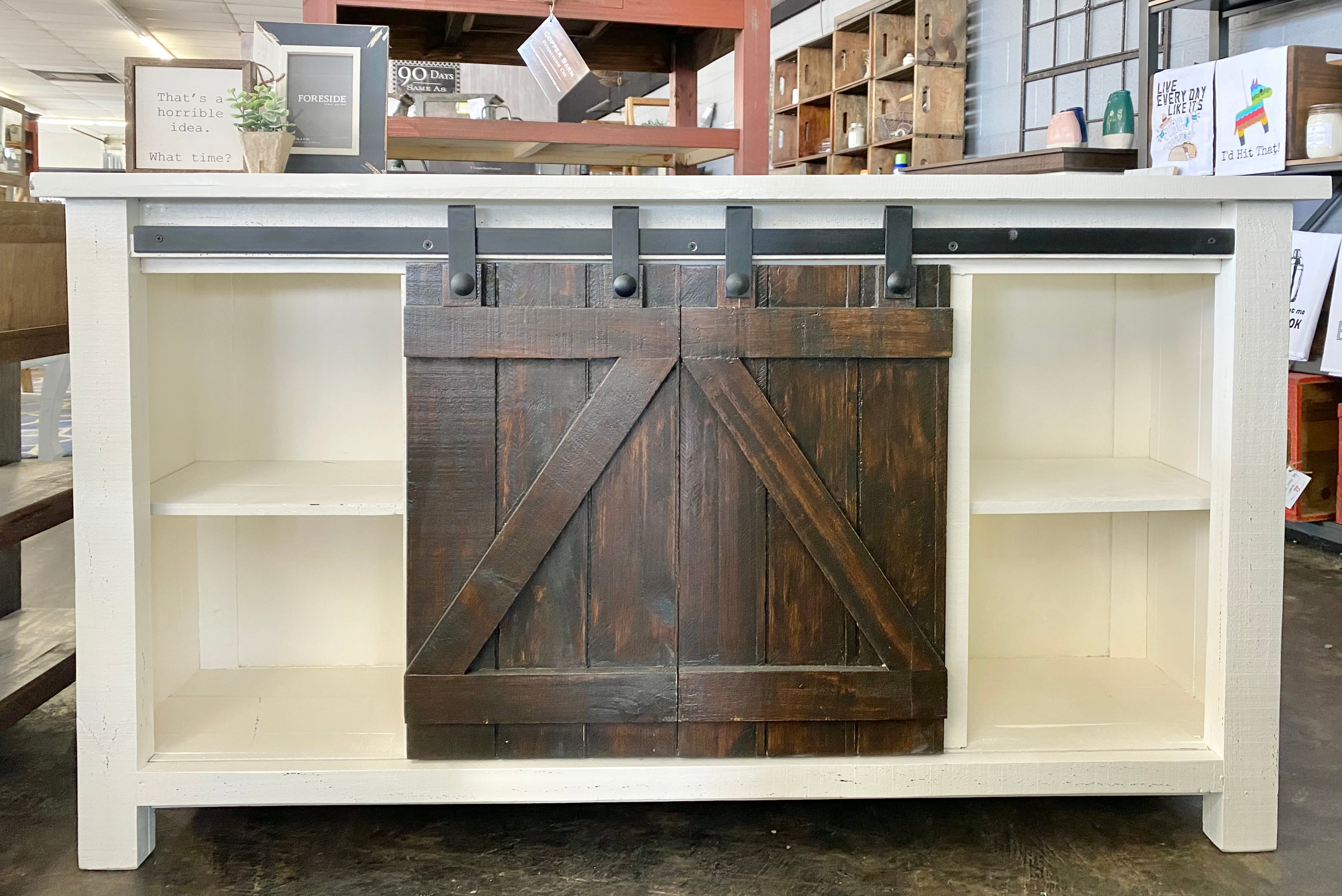 Carlos White & Tobacco Barn Door TV Stand
