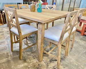 Alicia Weathered Honey & Linen 7 piece Counter Height Dining Set