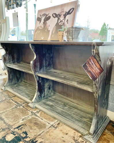 Cara Washed Dark Gray Bookcase Console Table