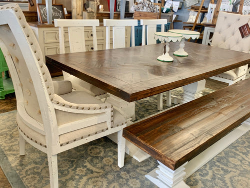 Herringbone Deconstructed Linen Dining Table Set