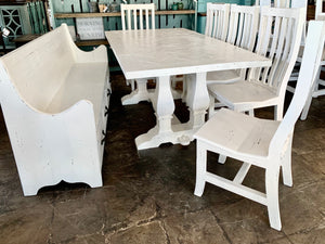 Herringbone Distressed White 7 piece Dining Table Set