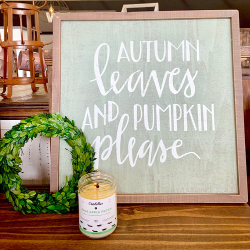 Autumn Leaves Wood Sign