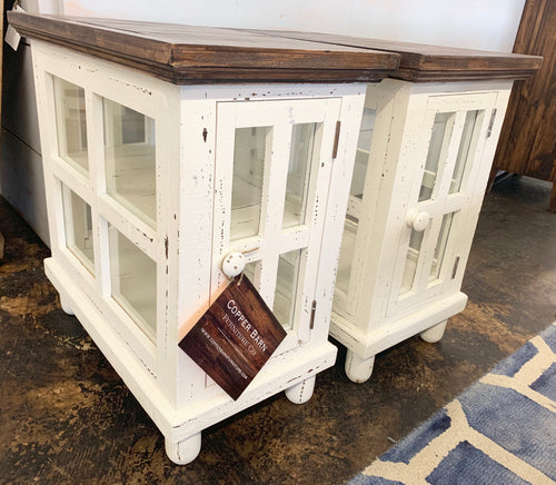 Tanner White Glass Sides End Tables (pair of 2)