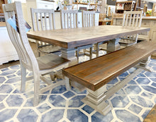 Load image into Gallery viewer, Herringbone Old Gray 7 piece Dining Table Set