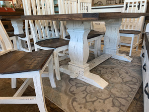 Banks 7 piece White & Tobacco Church Pew Table Set