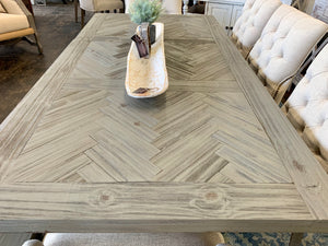 Gray Herringbone 7 piece Dining Table Set