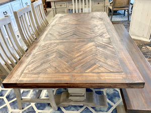 Herringbone Old Gray 7 piece Dining Table Set