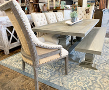 Load image into Gallery viewer, Gray Herringbone 7 piece Dining Table Set