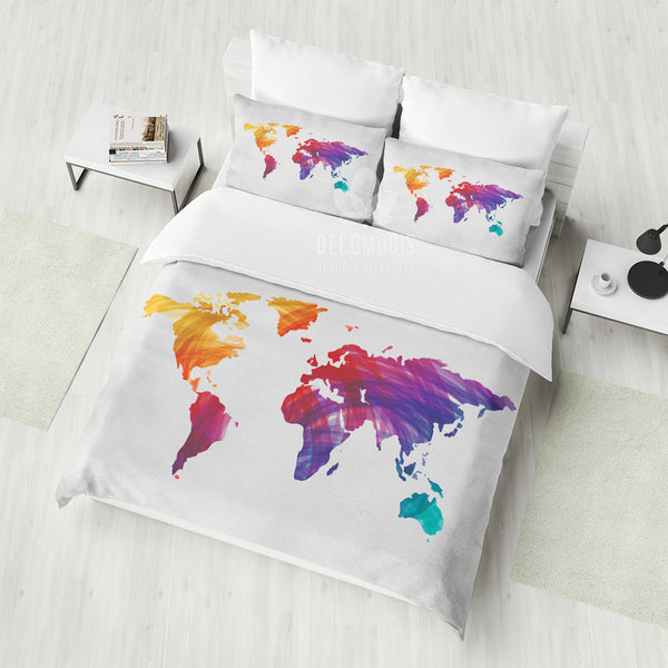 World Map Bedding, Map of the World Duvet Cover Set, Inspirational Travel  Bedspread, Interior Bedroom Artbedding Decor