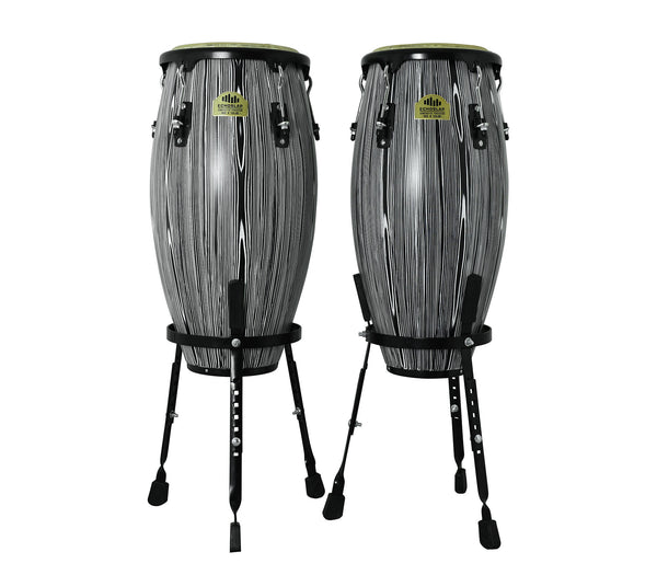 "Black & White 10"" & 11"" Congas with Basket Stand - Siam Oak"