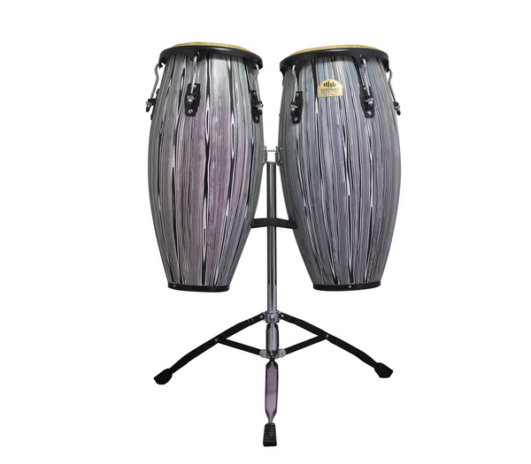 "Black & White 10"" & 11"" Congas with Dual Stand -  Siam Oak"