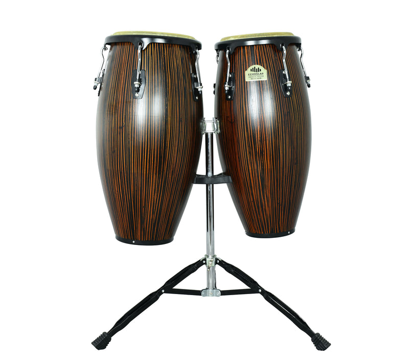 "Ebony 10"" & 11"" Congas with Dual Stand - Siam Oak"