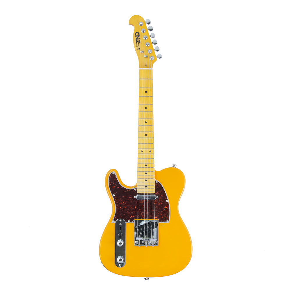 Alder Body /& Amber Gloss Maple Neck 3-Ply Black Pickguard CNZ Audio Thinline TL Semi-Hollow Electric Guitar Butterscotch Blonde