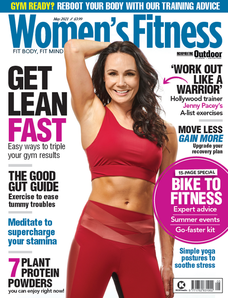 Jenny Pacey Front cover of Women's Fitness Magazine wearing Lucas Hugh Axis Set in Garnet