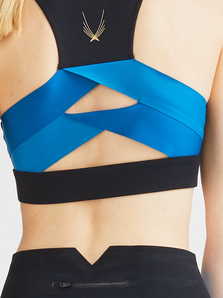 Axis Sports Bra in Sapphire & Black by Lucas Hugh