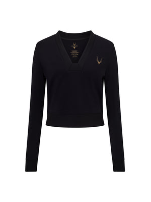 a black cropped sweatshirt