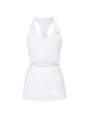 white racer back gym top with built in bra and cut out