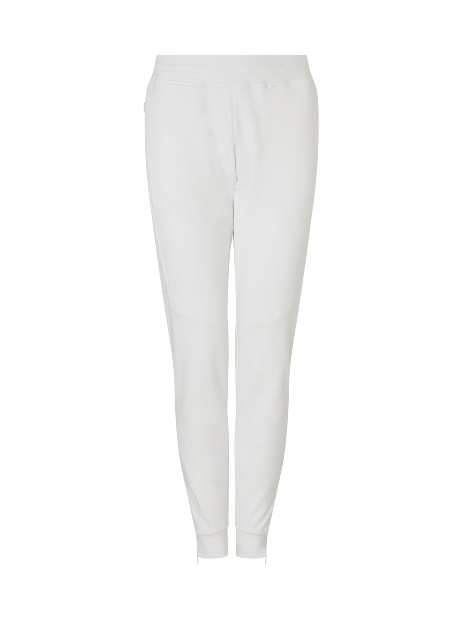 white track pant made from 100% cotton and concealed zip pockets.