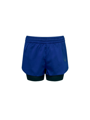 Performance stretch satin boxing and running short. Made with breathable mesh lining and blue outer shell.