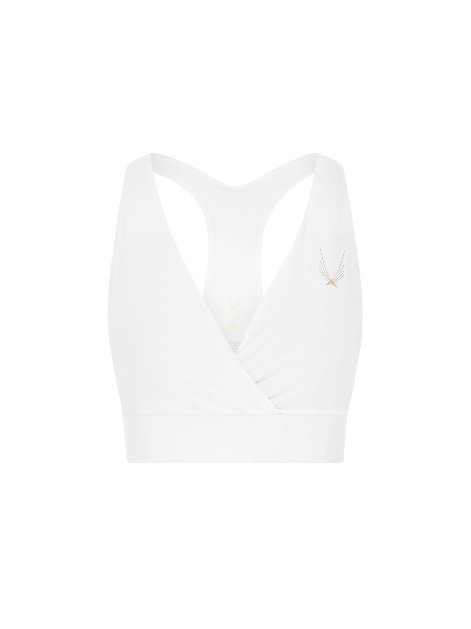 racer back white sports bra from lucas hugh in performance compression fabric