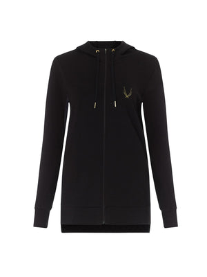 lucas hugh halo hooded sweatshirt in black with full zip, dropped hem. Made with thermo regulating merino wool