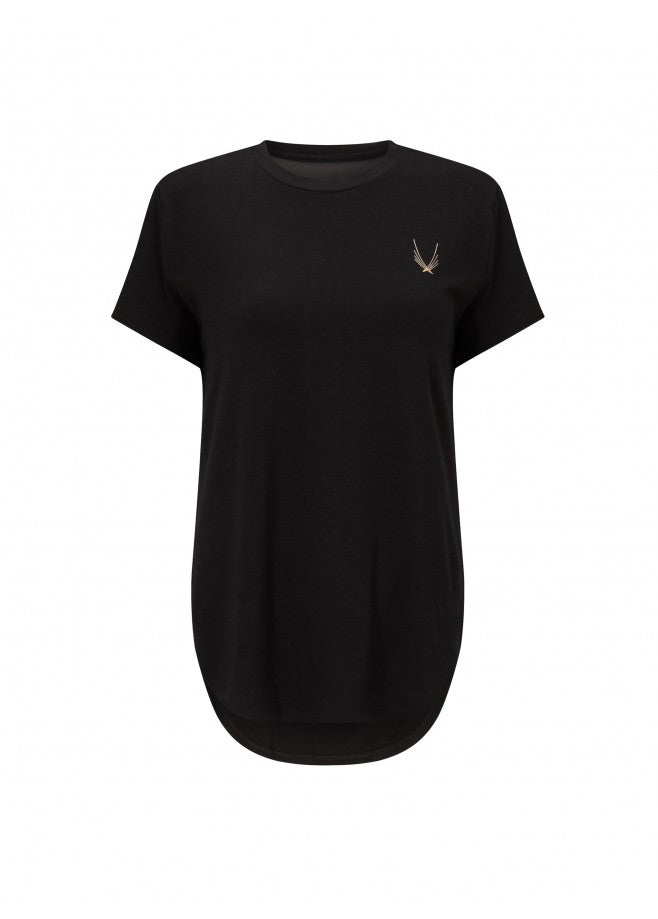 loose fit black gym t-shirt with mesh back panel for breathability and dropped hem for coverage