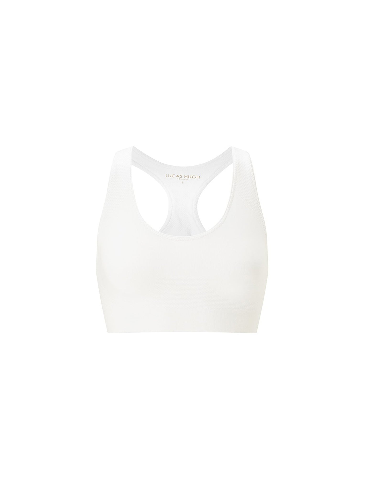 lucas hugh white technical knit sports racer back bra with ribbed hem