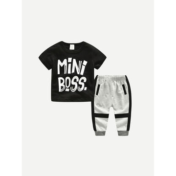Boys Letter Print Tee With Pants
