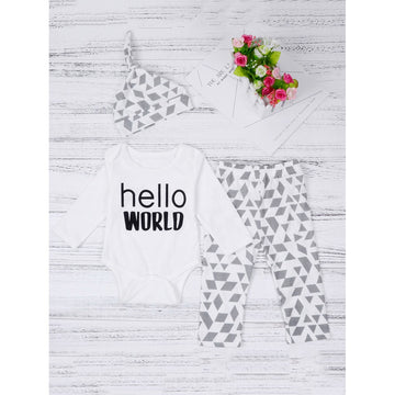Boys Baby Geo Print Top & Pants Set With Hat